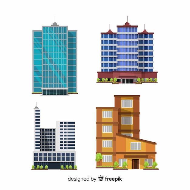 Moderne kantoorgebouwcollectie met plat ontwerp Gratis Vector