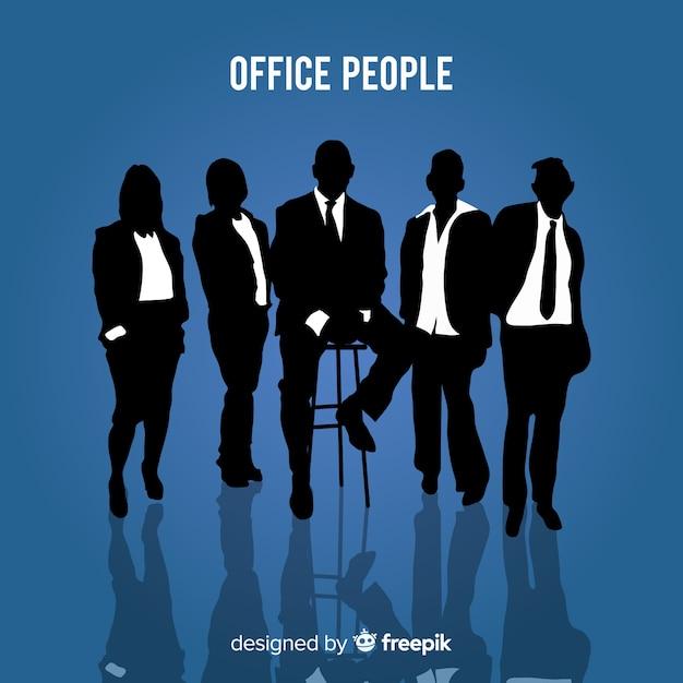 Moderne kantoorpersoneel met silhouetstijl Gratis Vector