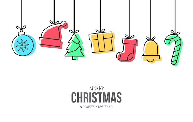 Moderne kerst achtergrond met memphis kerst iconen decoratie Gratis Vector