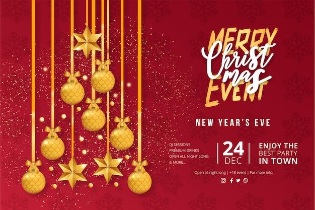 Moderne kerst evenement poster sjabloon Gratis Vector