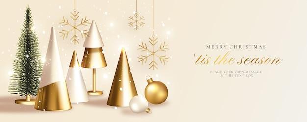 Moderne kerst wenskaart met realistische gouden kerstboom Gratis Vector