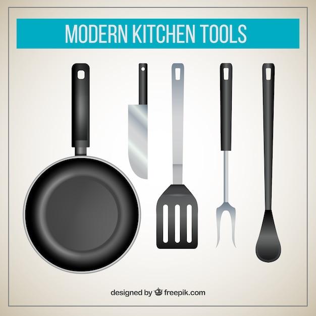 Moderne keuken gereedschappen Gratis Vector