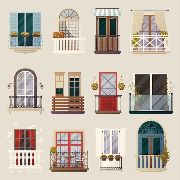 Moderne klassieke vintage balkon elementen collectie Gratis Vector