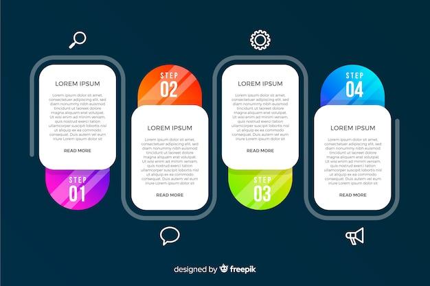 Moderne kleurrijke infographicsstappen Gratis Vector