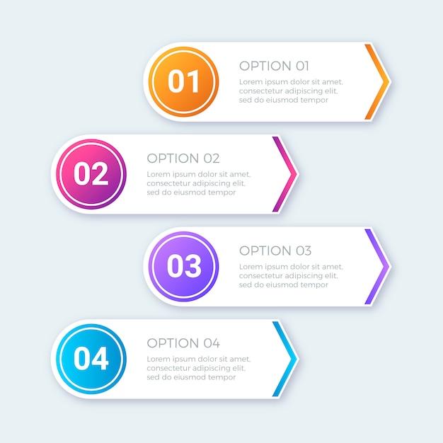 Moderne kleurrijke stappen infographics set Gratis Vector
