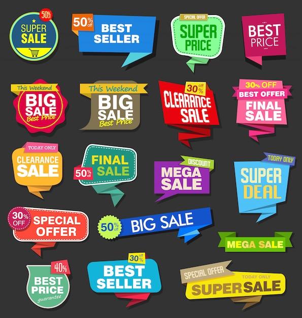 Moderne kleurrijke verkoop stickers collectie Premium Vector