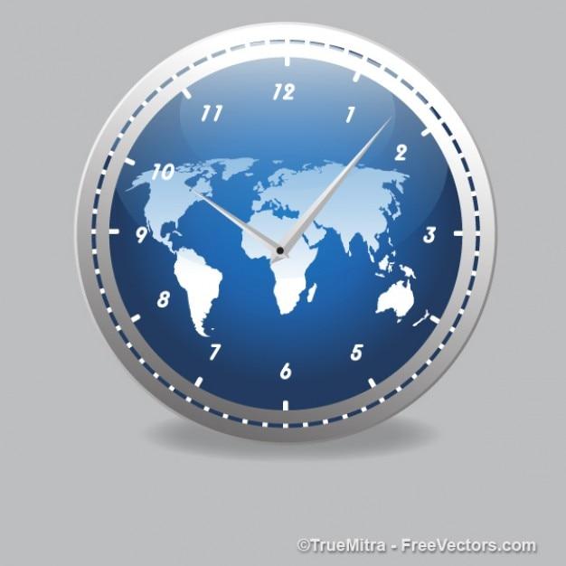 Moderne klok met wereldkaart vector gratis download - Moderne klok ...