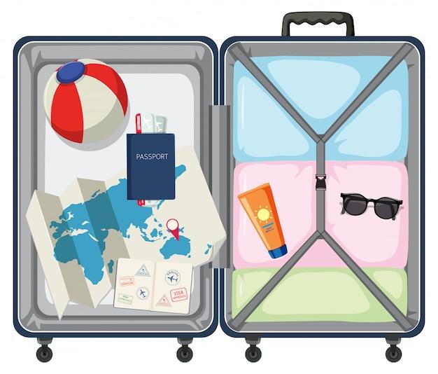 Moderne koffer met reisvoorwerp Gratis Vector