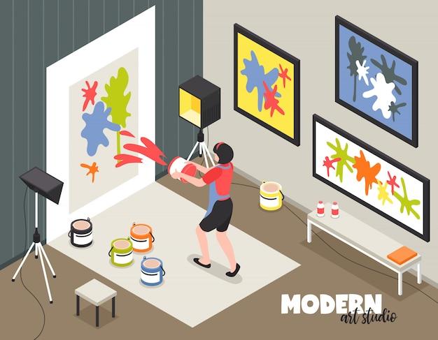 Moderne kunststudio met vrouwenkunstenaar tijdens het creatieve werk met verven en canvas isometrische vectorillustratie Gratis Vector