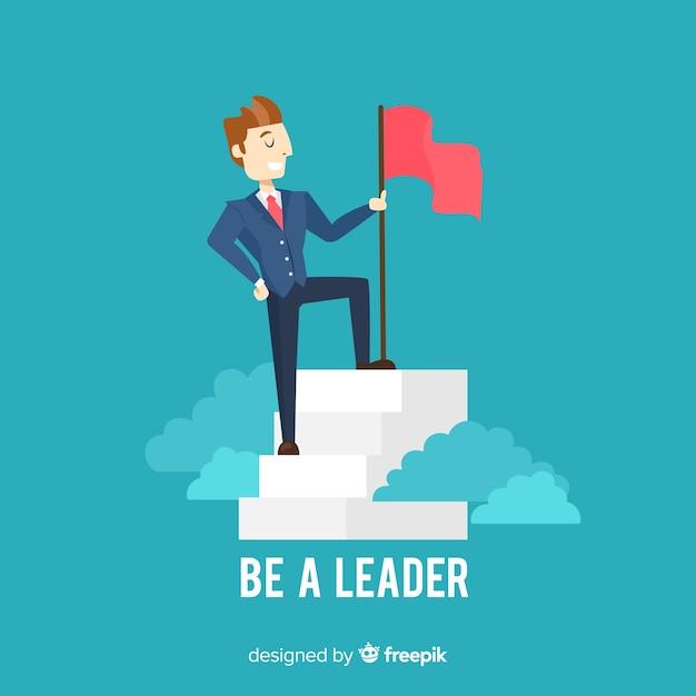 Moderne leiderschapsamenstelling met plat ontwerp Gratis Vector