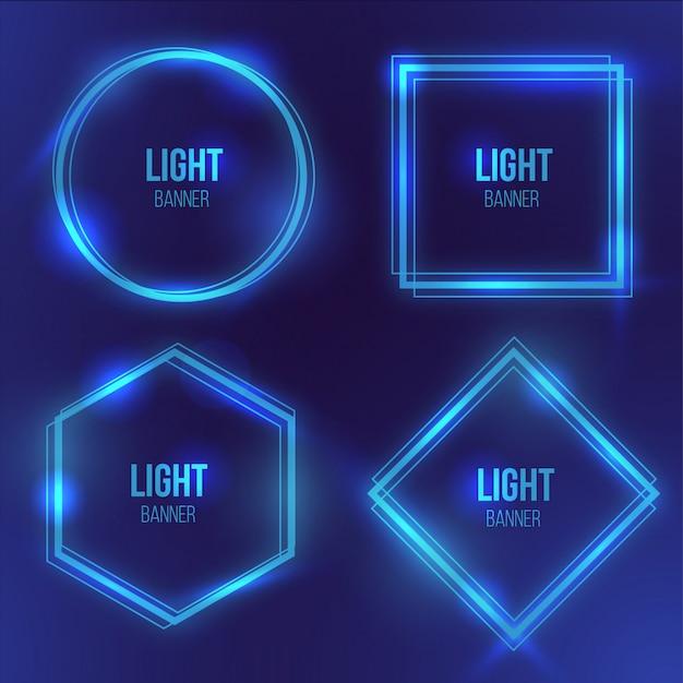 Moderne lichte banner met blauw licht Gratis Vector