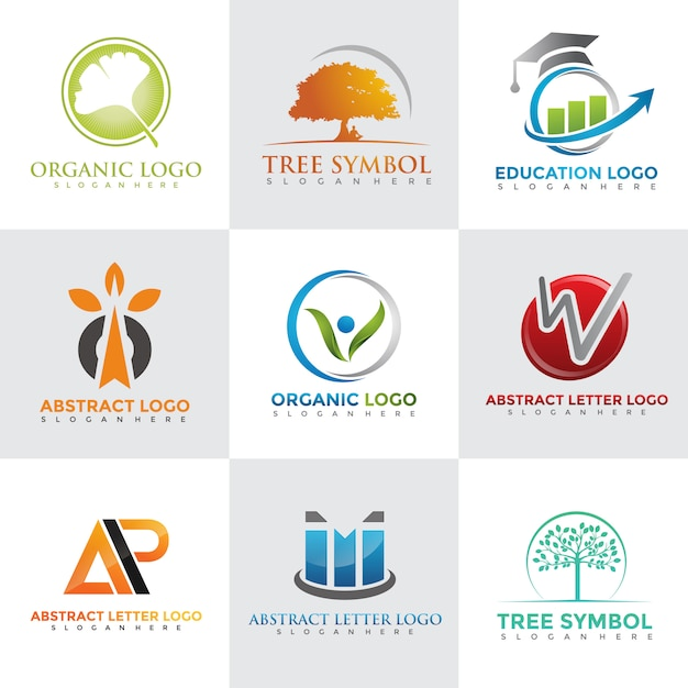 Moderne logo ontwerpsjablonen instellen Premium Vector