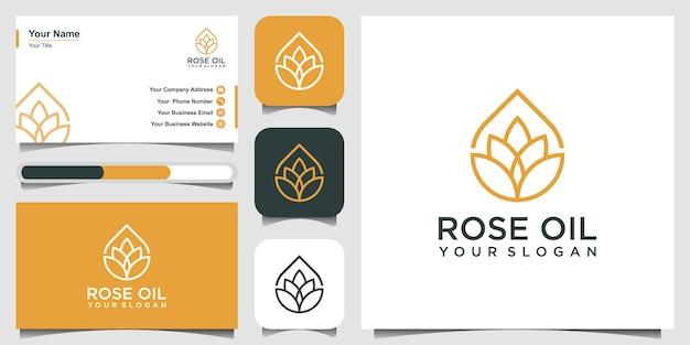 Moderne lotus teken lijntekeningen gecombineerd met etherische olie druppels ziet er minimalistisch en schoon uit. logo ontwerp en visitekaartje Premium Vector