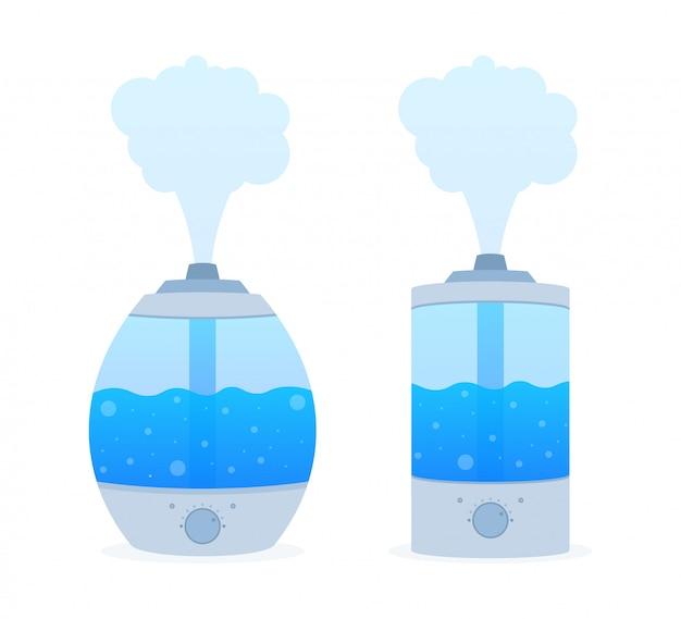 Moderne luchtbevochtiger voor thuis. luchtbevochtiger luchtbevochtiger. zuiveringsmicroklimaat. illustratie. Premium Vector