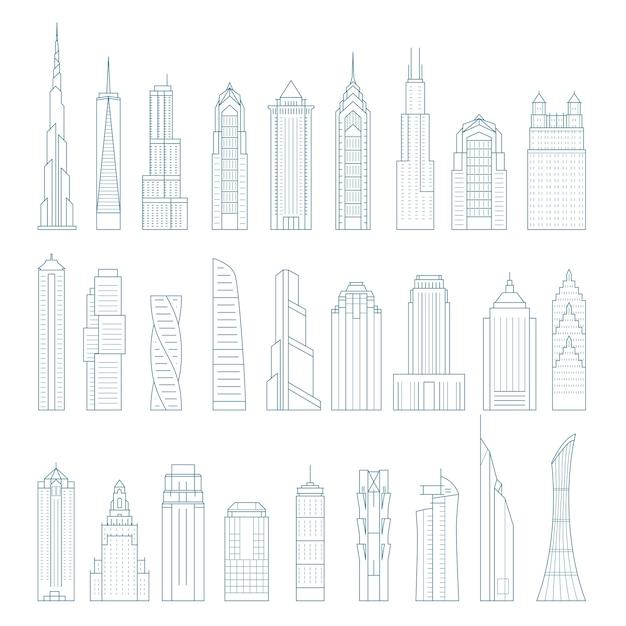Moderne megalopoliswolkenkrabbers en gebouwen - torens en oriëntatiepunten Premium Vector