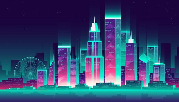 Moderne megapolis 's nachts. gloeiende gebouwen en reuzenrad in cartoon-stijl, neon kleuren Gratis Vector