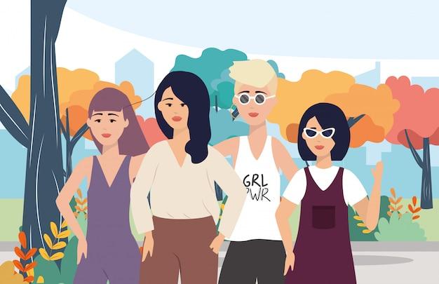 Moderne meisjes met vrijetijdskleding en kapsel Gratis Vector