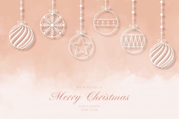 Moderne merry christmas achtergrond met lijn ballen Gratis Vector