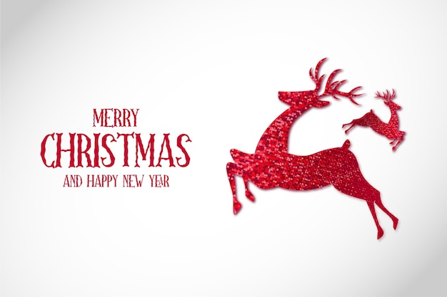 Moderne merry christmas-achtergrond met reinder christmas red Gratis Vector