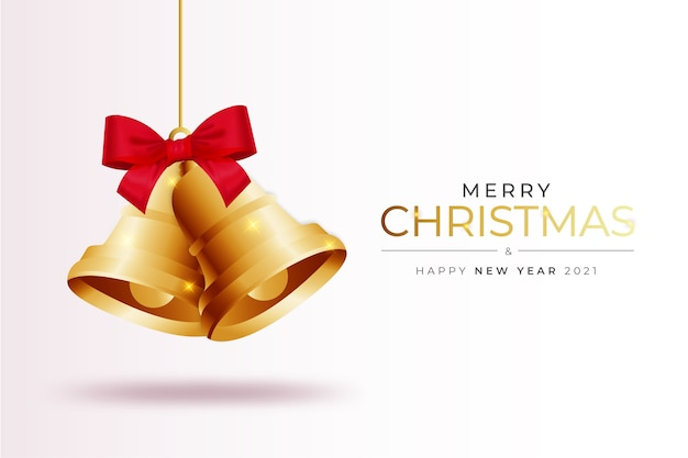 Moderne merry christmas card achtergrond met realistische christmas bell samenstelling sjabloon Gratis Vector