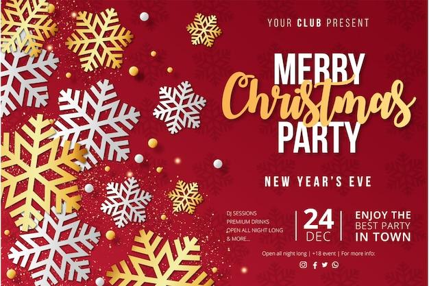 Moderne merry christmas party poster sjabloon met sneeuwvlokken Gratis Vector