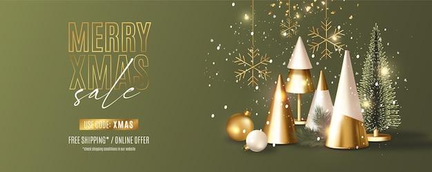 Moderne merry christmas sale-banner met realistische 3d-samenstelling van kerstobjecten Gratis Vector