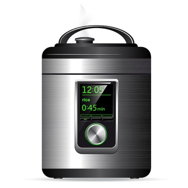 Moderne metalen multicooker. snelkookpan voor het koken van voedsel onder druk. elektronische bediening. zijaanzicht. Premium Vector