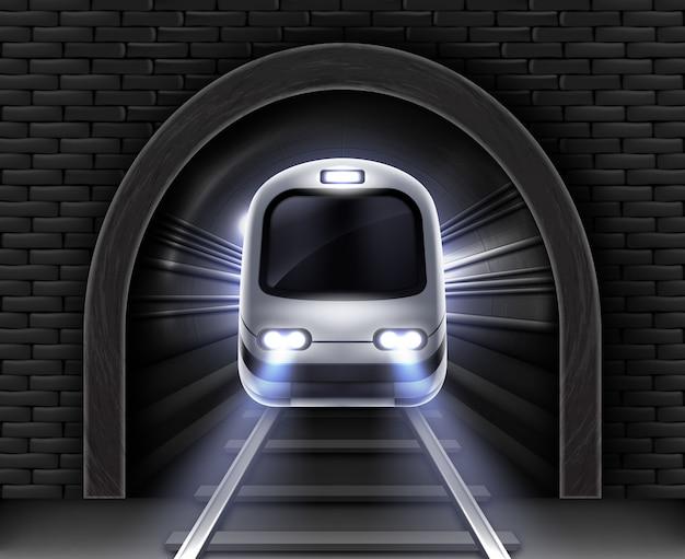 Moderne metro in tunnel. realistische afbeelding van de voorwagen van de passagierstrein, stenen boog in bakstenen muur en rails. ondergronds elektrisch spoorwegvervoer Gratis Vector