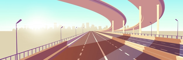 Moderne metropolis snelheid snelweg cartoon vector Gratis Vector