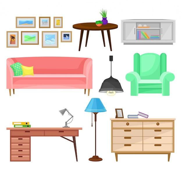 Moderne meubels voor woonkamer set, interieur elementen illustraties op een witte achtergrond Premium Vector