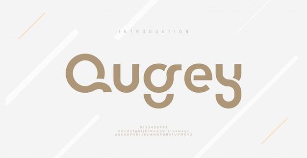 Moderne minimale abstracte alfabetlettertypen. typografische technologie, elektronisch, film, digitaal, muziek, toekomst, logo creatief lettertype. Premium Vector