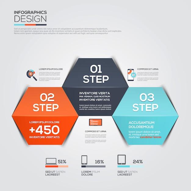 Moderne minimale infographic sjabloon Premium Vector