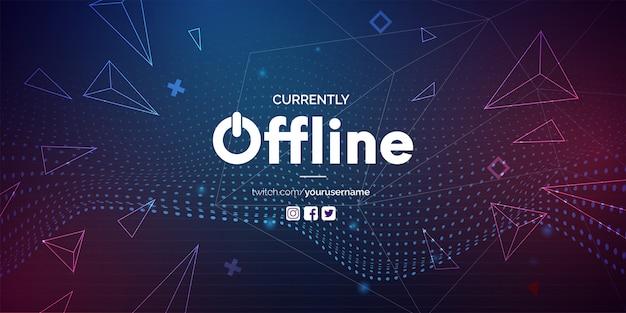Moderne momenteel offline banner met abstracte achtergrond voor twitch Gratis Vector