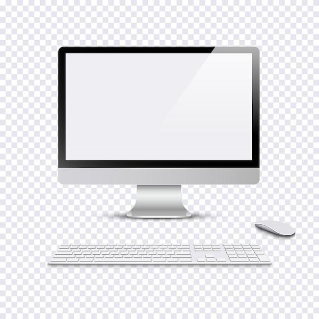 Moderne monitor met toetsenbord en computermuis op transparante achtergrond Premium Vector