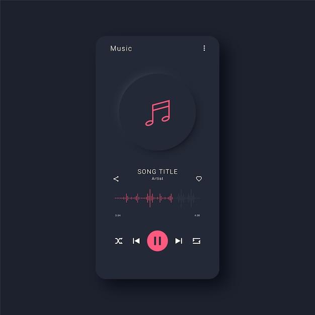 Moderne muziek app-interface Premium Vector