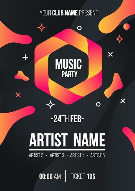 Moderne muziek partij poster Gratis Vector