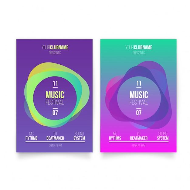 Moderne muziek poster sjabloon Gratis Vector
