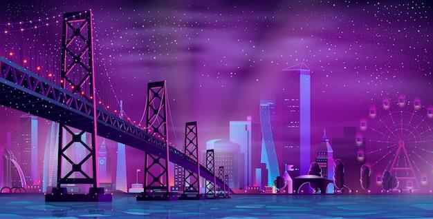 Moderne nacht stad cartoon vector stedelijke achtergrond Gratis Vector