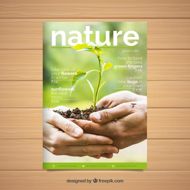 Moderne natuur dekking van de tijdschriftsjabloon met foto Gratis Vector
