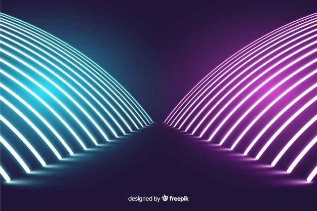 Moderne neonlichten fase achtergrond Gratis Vector