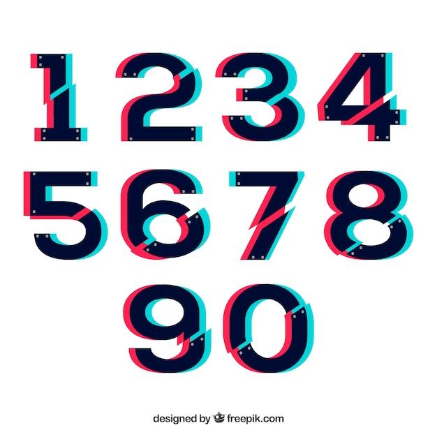Moderne nummerverzameling Gratis Vector