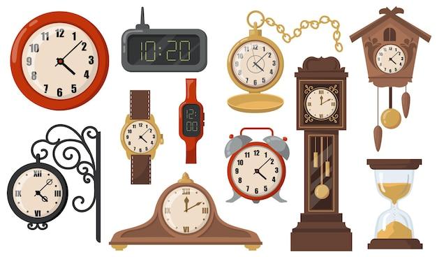 Moderne of retro mechanische en elektronische klokken platte item set Gratis Vector