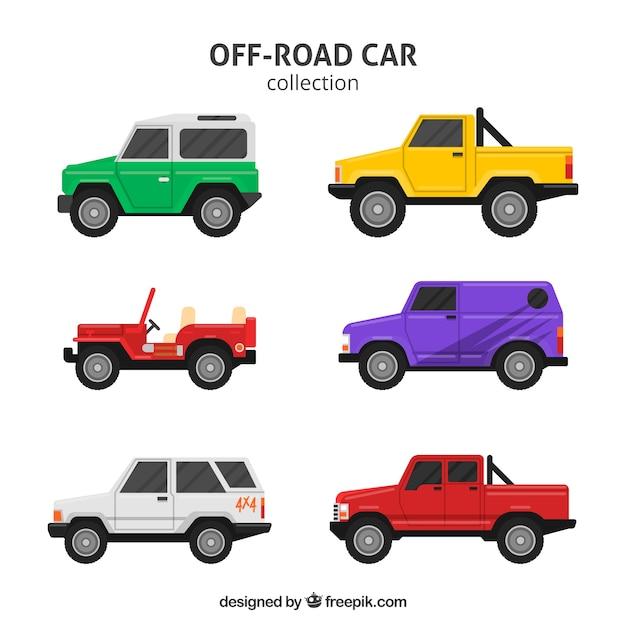 Moderne off-road auto's Gratis Vector