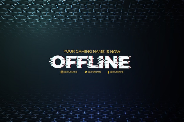 Moderne offline twitch-achtergrond met abstract 3d malplaatje als achtergrond Gratis Vector