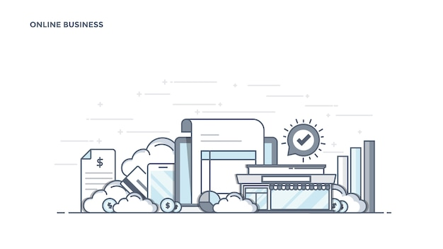 Moderne online zakelijke componenten Premium Vector