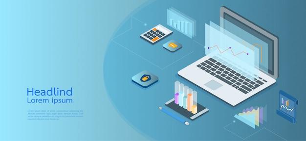 Moderne ontwerp isometrische concept bedrijf. computer, laptop, smartphone Premium Vector
