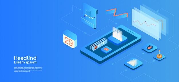 Moderne ontwerp isometrische concept bedrijf. smartphone Premium Vector