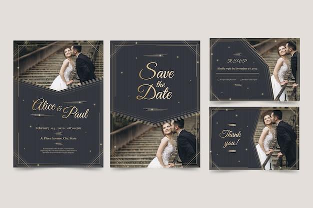Moderne ontwerpsjabloon bruiloft uitnodiging Gratis Vector