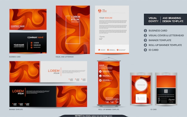 Moderne oranje kantoorbehoeftenreeks en visuele merkidentiteit met abstracte kleurrijke dynamische vorm als achtergrond. Premium Vector