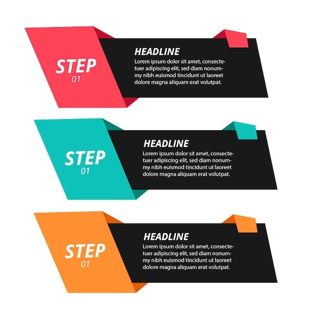Moderne origami stap infographics Gratis Vector